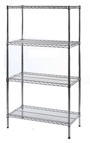 chrome wire shelving shelf assembly for clean envioroments